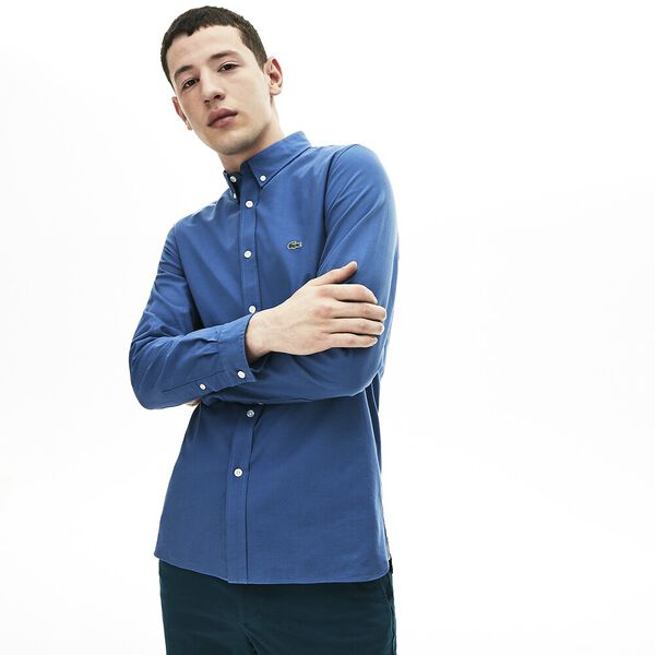 Men's Classic Long Sleeve Slim Stretch Oxford Shirt