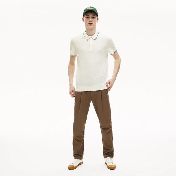 Men's Lacoste Cotton-Silk Piqué Polo Shirt, FARINE/NOIR, hi-res