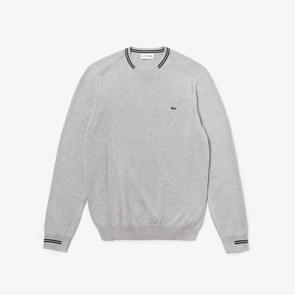 Men's Classic Tipped Cotton Crew Neck Knit, SILVER CHINE/SINOPLE-FLOU, hi-res