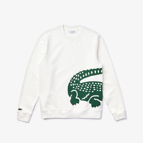 Men's Oversized Crocodile Crew Neck Sweatshirt, FARINE, hi-res