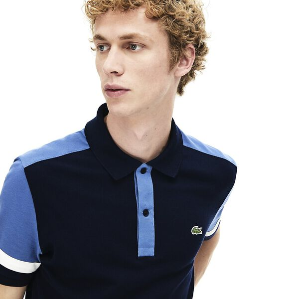 MEN'S COLOUR BLOCK SLIM FIT PIMA POLO, NAVY BLUE/KING-FLOUR, hi-res