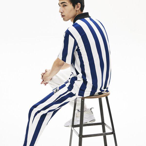 Men's Lacoste LIVE Loose Fit Striped Cotton Piqué Polo Shirt, FARINE/METHYLENE-NOIR, hi-res