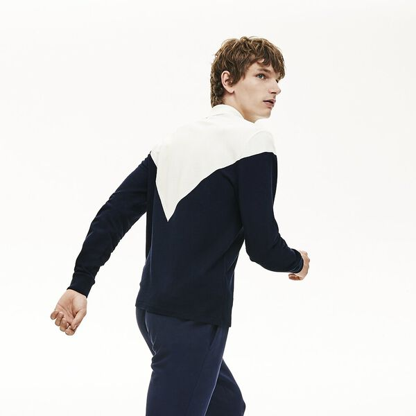Men's Made In France Long Sleeve Reg Fit Polo, NAVY BLUE/FLOUR-ALIZARIN, hi-res