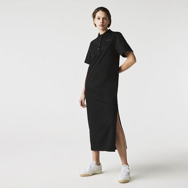 Women's LIVE Long Striped Cotton Polo Dress, BLACK, hi-res