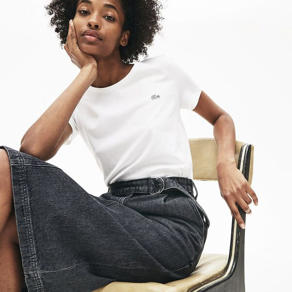 Women's Crew Neck Solid Tee, WHITE, hi-res