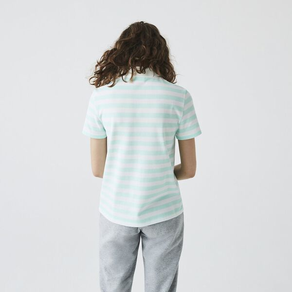 Women's Regular Fit Mesh Collar Striped Cotton Polo, SYRINGA/FLOUR, hi-res