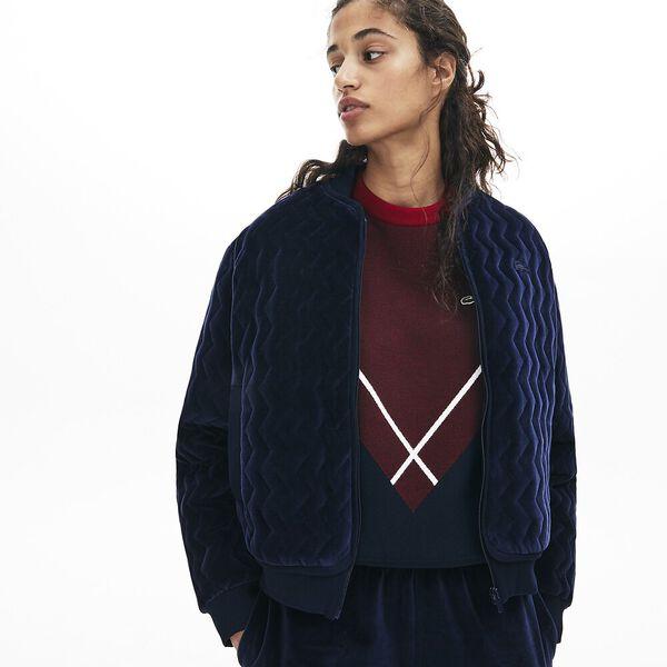 Women's Lacoste Motion Velvet Bomber Jacket, NAVY BLUE, hi-res