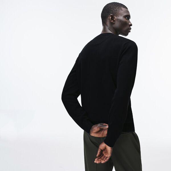 Men's Classic Cotton V Neck Knit, BLACK/FLOUR-BLACK, hi-res