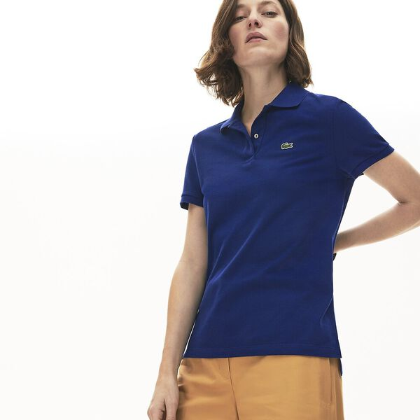 Women's Classic Fit Soft Cotton Petit Piqué Polo Shirt, METHYLENE, hi-res