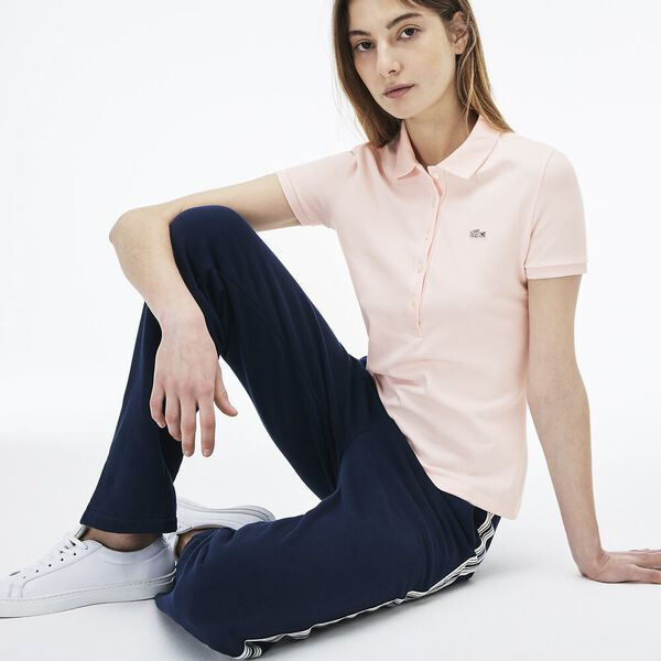 Women's 5 Button Slim Stretch Core Polo, FLAMINGO, hi-res