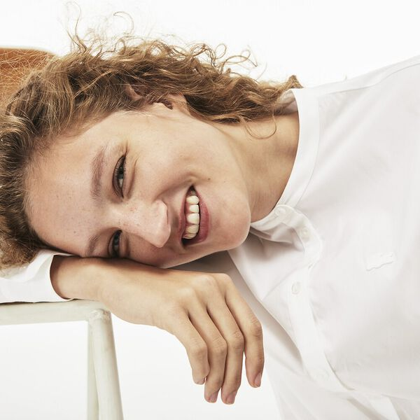 WOMEN'S LONG SLEEVE ROUND COLLAR STRIPE POPLIN SHIRT