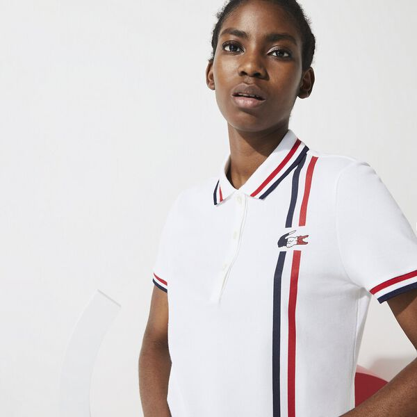Women's SPORT French Sporting Spirit Heritage Polo, WHITE/NAVY BLUE-RED, hi-res