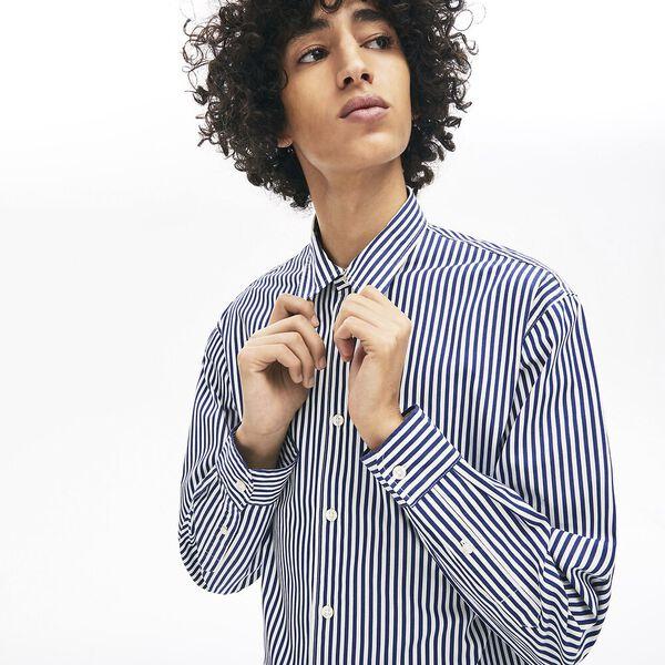 Unisex Lacoste LIVE Boxy Fit Striped Cotton Shirt, FARINE/METHYLENE, hi-res