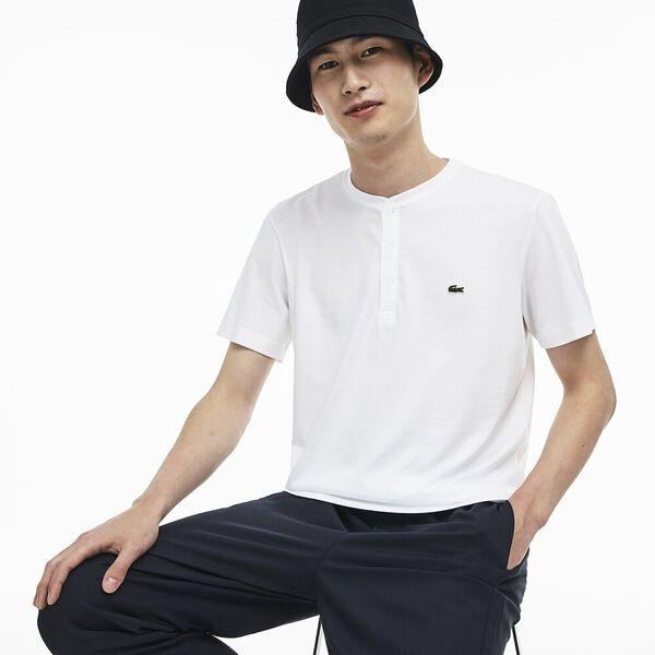 Men's Henley Neck Pima Cotton Jersey T-shirt, BLANC, hi-res
