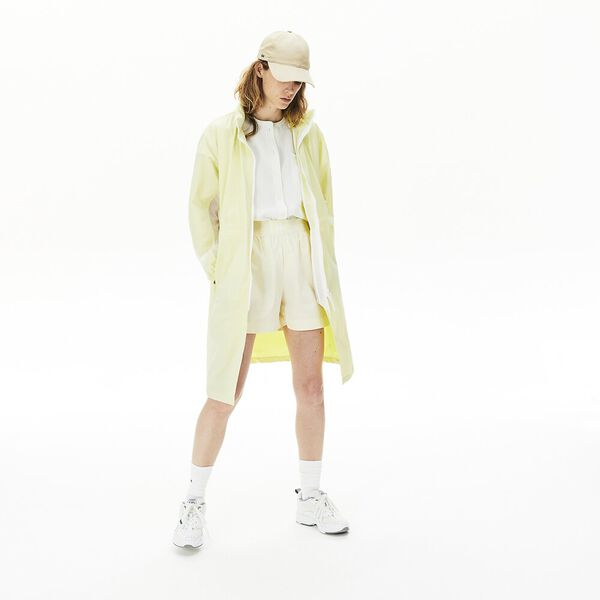 Women's Water-Resistant Long Nylon Parka, BLANC/CITRONNIER, hi-res