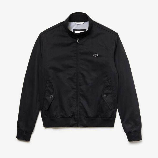 Men's Classic Twill Harrington Jacket, BLACK, hi-res