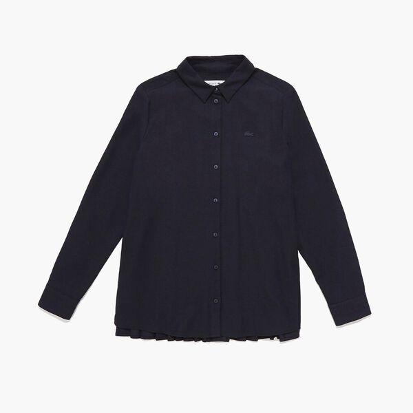 Women's Long Sleeve Pleat Back Shirt, NAVY BLUE, hi-res