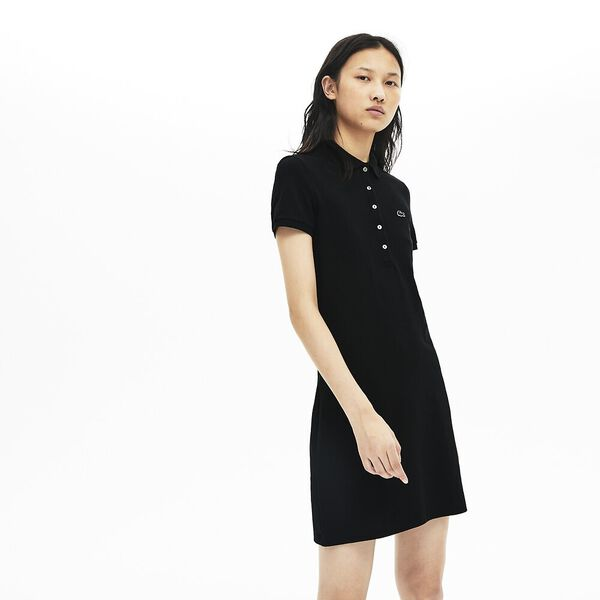 Women's Slim Fit Core Polo Dress, BLACK, hi-res