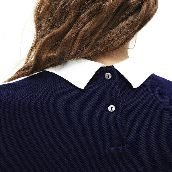 Women's Made In France Technical Pique Polo, NAVY BLUE/FLOUR-ALIZARIN, hi-res