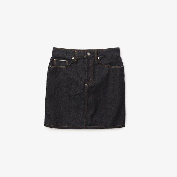 Women's Straight Mid-Length Denim Skirt, RINSE BLUE, hi-res