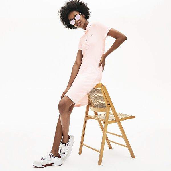 Women's Classic Slim Fit Polo Dress, FLAMINGO, hi-res