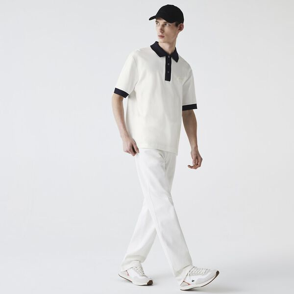 Men's Loose Fit Textured Cotton Piqué Polo, FLOUR/ABYSM, hi-res