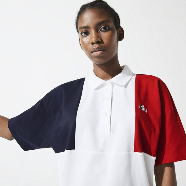 Women's SPORT French Sporting Spirit Tricolour Polo, NAVY BLUE/WHITE-RED, hi-res