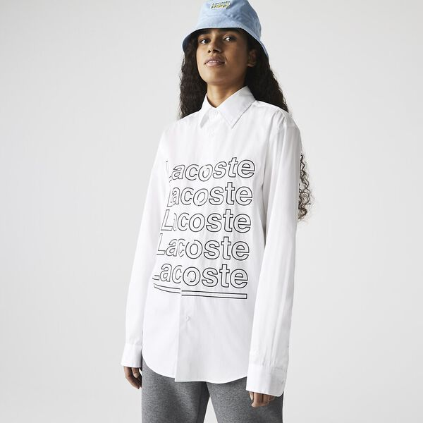 Unisex LIVE Relaxed Fit Print Poplin Shirt, WHITE, hi-res