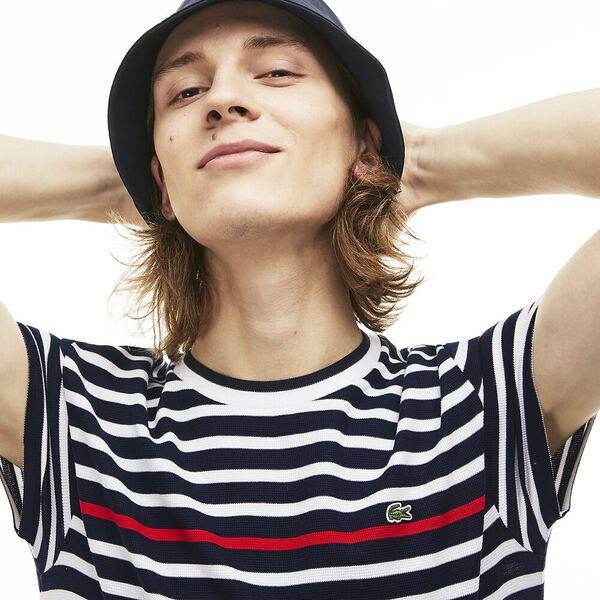 MEN'S SLIM CONTRAST STRIPE TEE, NAVY BLUE/WHITE/RED, hi-res