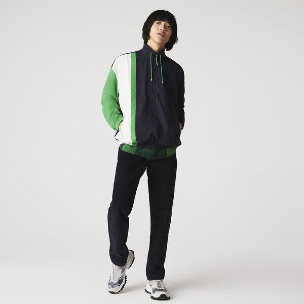 Men's Lightweight Water-Resistant Colorblock Zip Jacket, ABYSM/FLOUR-MALACHITE, hi-res