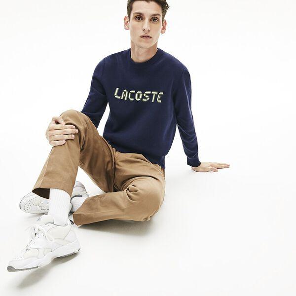 Men's Lettering Print Cotton Heritage Sweater, MARINE SOMBRE/VERT, hi-res