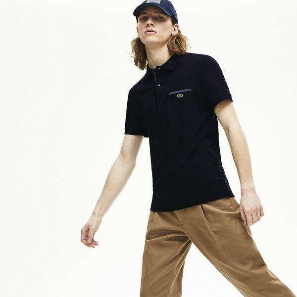 Men's Regular Fit Contrast Accents Cotton Piqué Polo, MARINE, hi-res