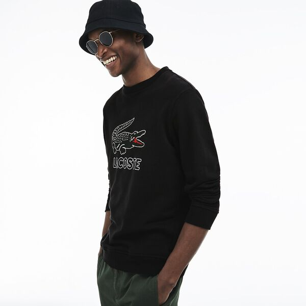 Men's Lacoste Croc Crewneck Sweat, BLACK, hi-res
