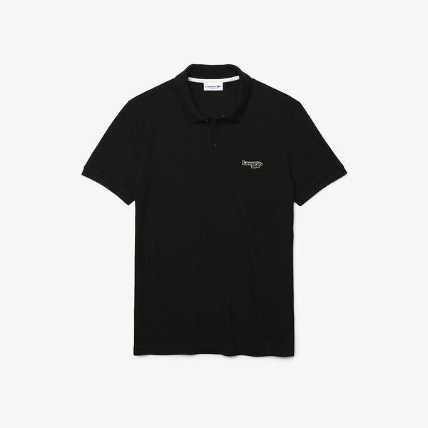Men's Lacoste Regular Fit Solid Cotton Piqué Polo Shirt With Badge, BLACK, hi-res