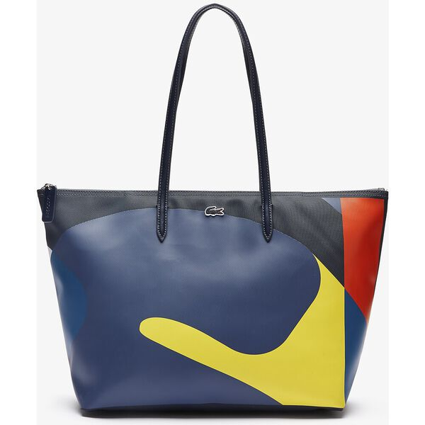 Women's L.12.12 Abstract Design Large Coated Canvas Tote Bag