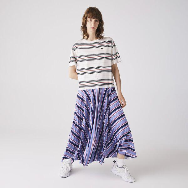 Women's Dissimilar Striped Pleated Jersey T-shirt Dress