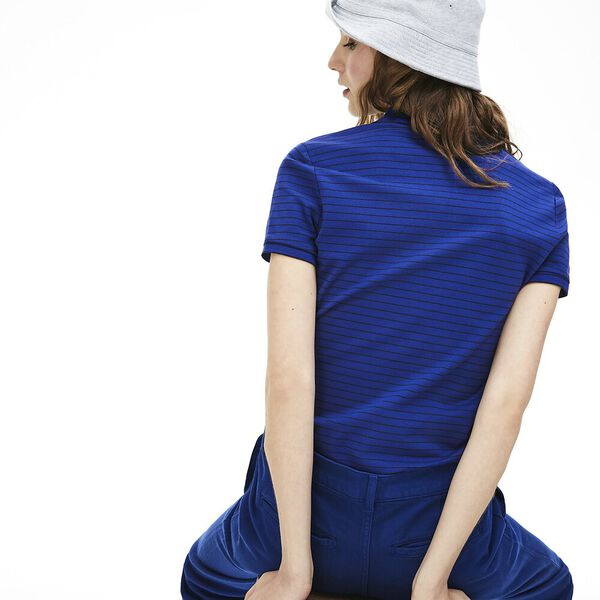 WOMEN'S STRIPED POLO, CAPTAIN/NAVY BLUE, hi-res