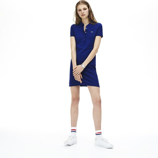 WOMEN'S SLIM FIT CORE POLO DRESS, CAPTAIN, hi-res