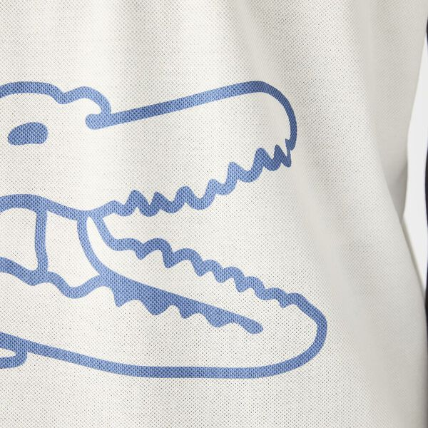 Men's Crocodile Print Cotton Piqué Polo, FLOUR, hi-res
