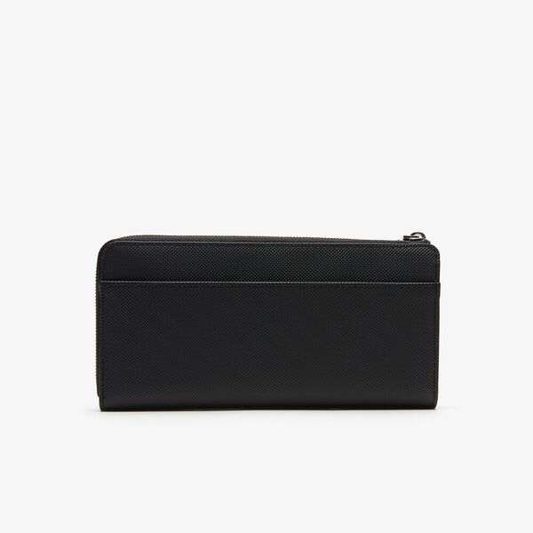 Women's Daily Classic Slim Zip Wallet, BLACK, hi-res