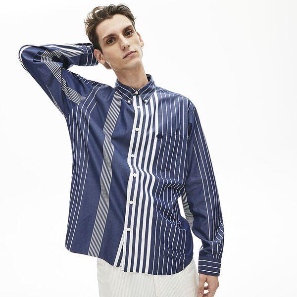 Men's Mismatched Striped Relaxed Fit Cotton Shirt, NOIR, hi-res