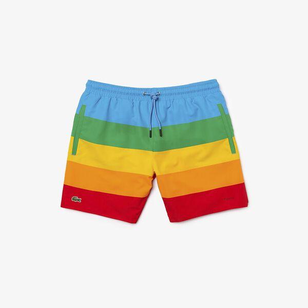 Men's Lacoste x Polaroid Color Striped Swimming Trunks, FIJI/MALACHITE-GYPSUM-ORP, hi-res
