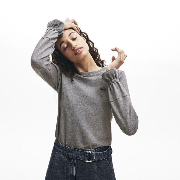 Women's Long Sleeve Stretch Mini Pique Tee, STONE CHINE, hi-res