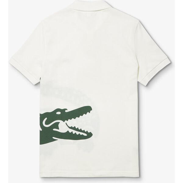 Men's Lacoste Oversized Crocodile Print Polo Shirt, FARINE, hi-res