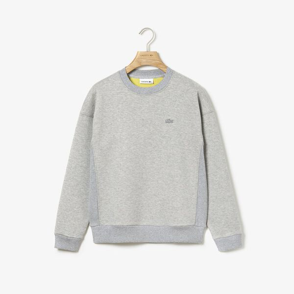 Women's Lacoste Motion Crew Neck Sweatshirt, SILVER CHINE, hi-res