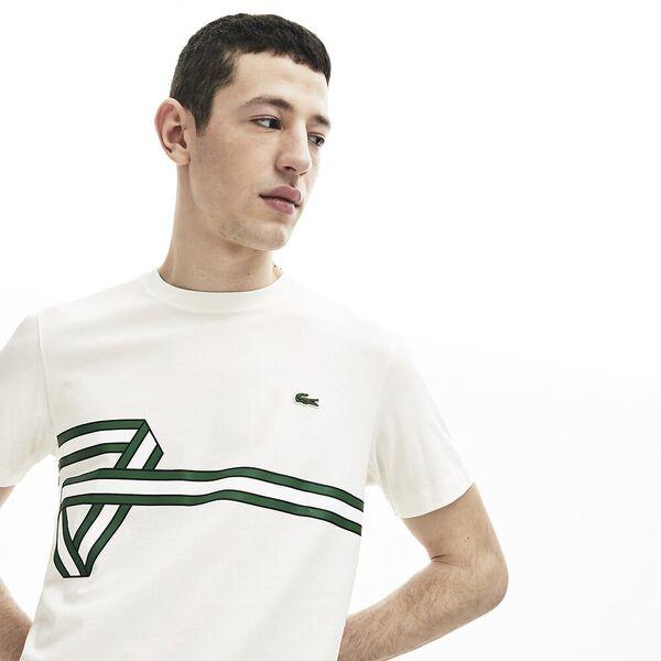 Men's Stripe Print Crew Neck T-shirt, FARINE, hi-res