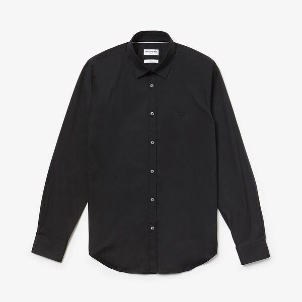 Men's Slim Stretch Solid Poplin Shirt, BLACK/BLACK, hi-res