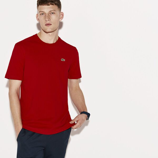 Men's Basic Crew Neck Sport Tee, RED, hi-res