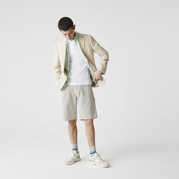 Men's LIVE Striped Bermuda Shorts, FLOUR/BLACK, hi-res