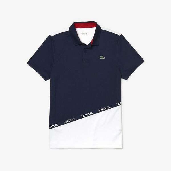 Men's Tennis Ultra Dry Colour Block Polo, NAVY BLUE/WHITE-RED, hi-res